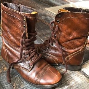Steve Madden Brown zipper lace up leather boot